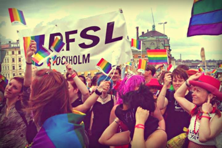Manifestación de RFSL en Estocolmo.